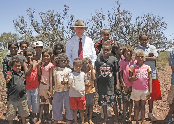 Young members of the Thudgari community with Justice Barker