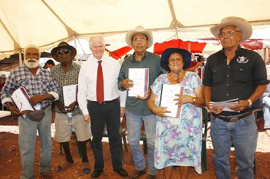 Thudgari elders with Justice Barker