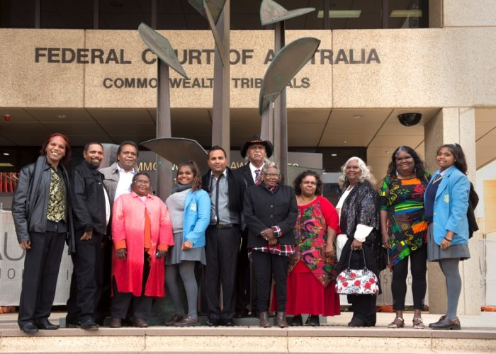 Banjima community members at the Federal Court in Perth
