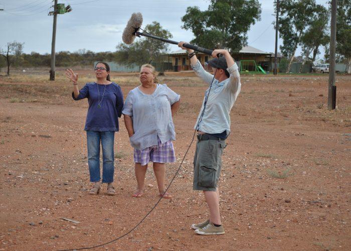 Charmaine Green and Barbara Merrit being filmed in Mullewa