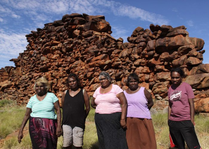 "Irene Roberts, Margaret Stewart, Doris Eaton, Evelyn Mitchell, and Cynthia Coppin at ""China Wall"" on Kariyarra country"