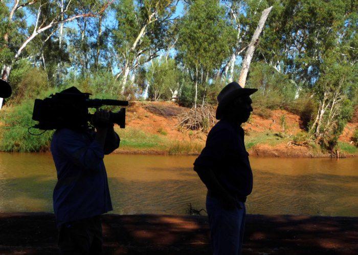 Toby Smirke being filmed on Jurruru country