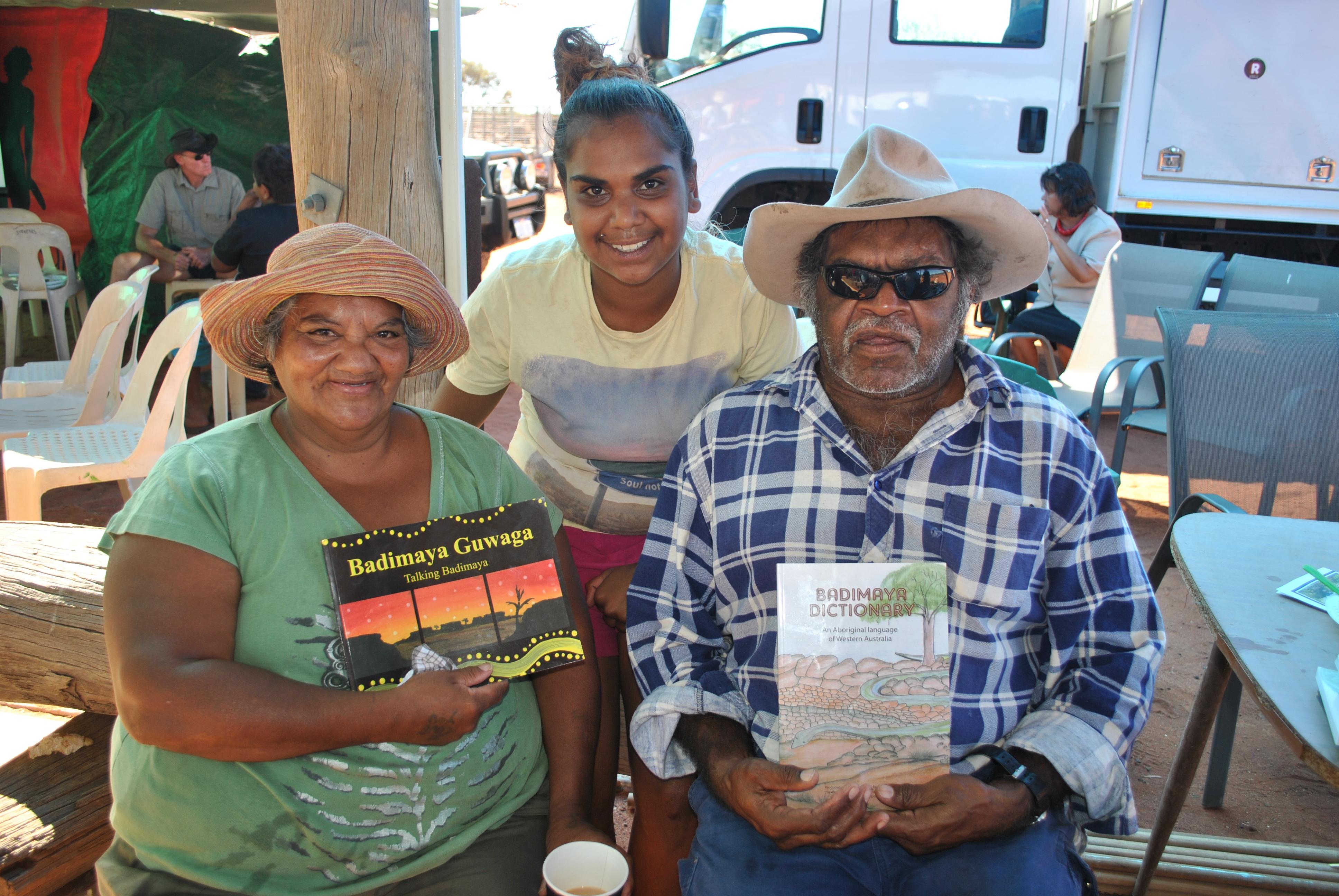 Joan, Louwana and Alan Walsh at the launch of the Badimaya Dictionary