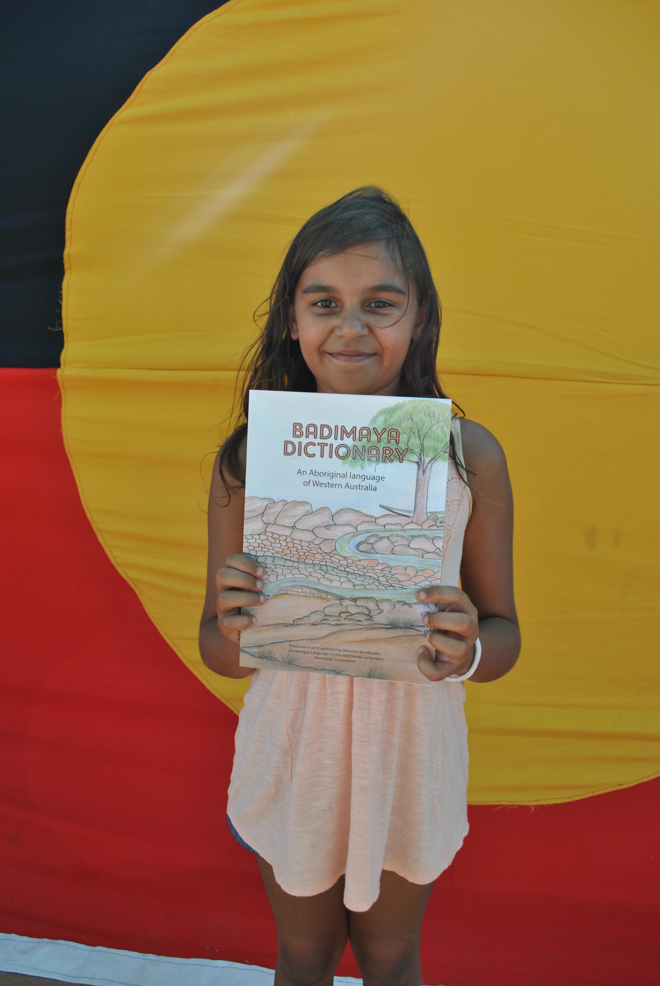 Tykeira Ward at the launch of the Badimaya Dictionary