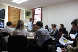Geraldton YMAC staff getting a lesson in Wajarri from Bundiyarra's Godfrey Simpson