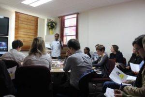 Geraldton YMAC staff getting a lesson in Wajarri from Bundiyarra's Godfrey Simpson
