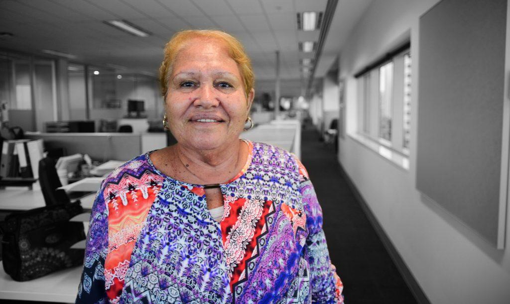 Nyaparu Rose in the Yamatji Marlpa Aboriginal Corporation offices, February 2016