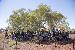 Traditional Owners gathering to witness the declaration of Native Title