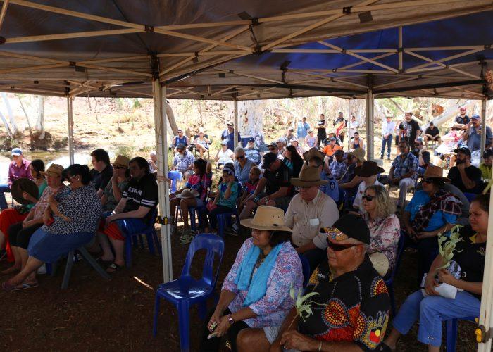 Crowd watching Palyku Native Title Determination 12 March 2019