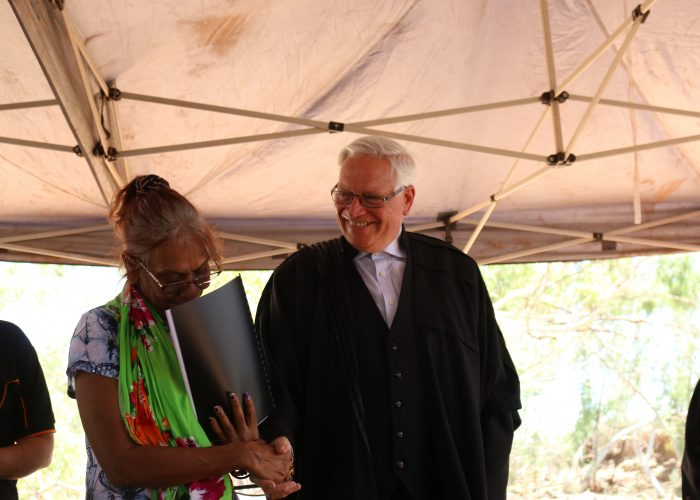 Justice John Reeves and Palyku Traditional Owner Cheryl McKay